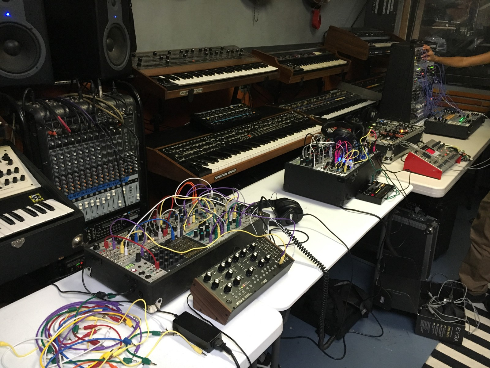 Showcase at the Vintage Synthesizer Museum